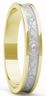 "Yellow & White Gold Celtic ""Warrior"" Band Ring - 5mm width"