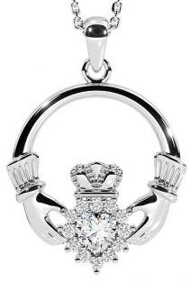 Diamond Silver Claddagh Pendant