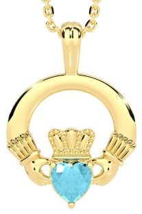 "Gold Aquamarine Irish ""Claddagh"" Pendant Necklace - March Birthstone"