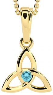 """Gold Aquamarine .06cts """"Celtic Knot"""" Pendant Necklace - March Birthstone"""