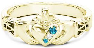 10K/14K/18K Gold Genuine Aquamarine.035cts Genuine Diamond .1cts Claddagh Celtic Knot Ring - March Birthstone