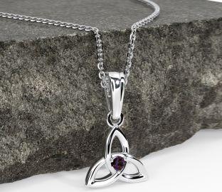 "White Gold Alexandrite Purple .06cts ""Celtic Knot"" Pendant Necklace - June Birthstone"
