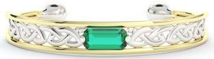 14K Two Tone Gold Solid Silver Emerald Celtic Bangle Bracelet