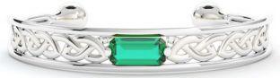 14K White Gold over Solid Silver Emerald Celtic Bangle Bracelet