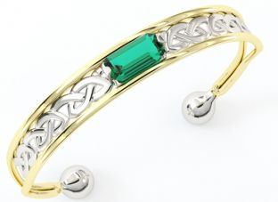 14K Two Tone Gold Solid Silver Emerald Celtic Bangle