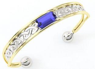 14K Gold Silver Sapphire Celtic Bangle Bracelet