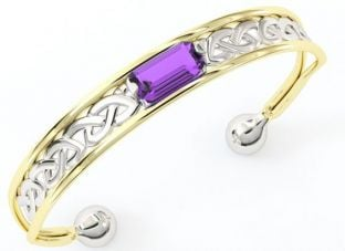 14K Gold Silver Amethyst Celtic Bangle Bracelet