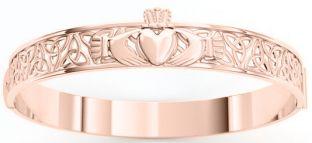 14K Rose Gold Solid Silver Claddagh Celtic Knot Bracelet