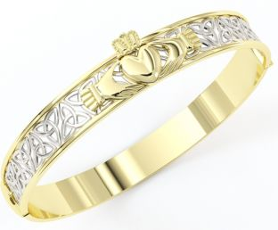 "14K Two Tone Gold Solid Silver ""Claddagh"" Celtic Knot Bracelet"