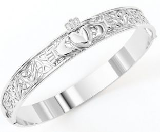 "14K White Gold coated Solid Silver ""Claddagh"" Celtic Knot Bracelet"