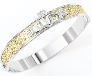 """Yellow & White Gold coated Solid Silver """"Claddagh"""" Celtic Knot Bracelet"""