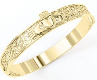 "Gold coated Solid Silver ""Claddagh"" Celtic Knot Bracelet"