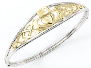 "14K Gold coated Silver Irish ""Claddagh"" ""Celtic Knot"" Bracelet Bangle"