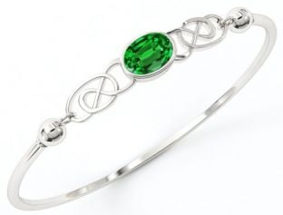 "Silver Emerald Irish ""Celtic Knot"" Bracelet"