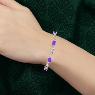 Silver Amethyst Celtic Bracelet