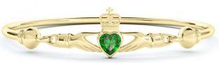"""14k Gold coated Silver Emerald Celtic """"Claddagh"""" Bracelet"""