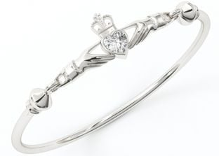 """Silver Diamond Celtic """"Claddagh"""" Bangle Bracelet"""