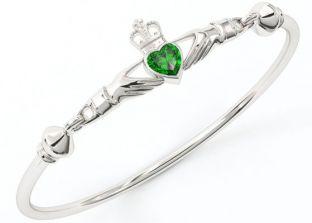 "Silver Emerald Celtic ""Claddagh"" Bracelet"