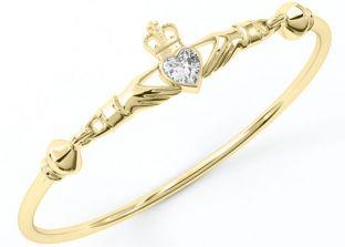 """14k Gold coated Silver Diamond Celtic """"Claddagh"""" Bracelet"""