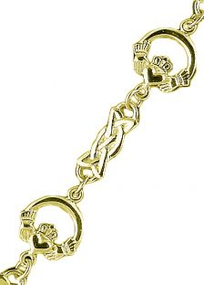 """14K Gold coated Silver Celtic """"Claddagh"""" Bracelet"""
