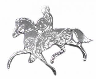 """Silver  Irish """"Celtic Horse"""" Warrior Brooch Pin"""