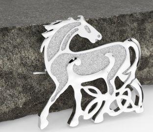 """Silver Irish """"Celtic Horse"""" Brooch Pin"""