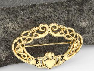 14K Gold Silver Celtic Claddagh Brooch Pin