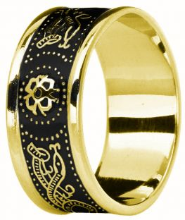 "Mens Gold & Black Rhoidum over Silver Celtic ""Warrior"" Band Ring"