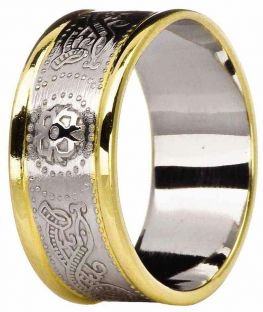 "Mens 10K/14K/18K Two Tone Gold Celtic ""Warrior"" Wedding Band Ring"
