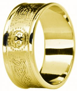 "Mens Gold Celtic ""Warrior"" Band Ring 9mm Width"