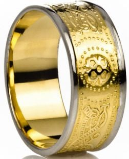 "Mens Two Tone Yelow & White Gold over Silver Celtic ""Warrior"" Band Ring"