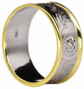 """Mens 14K Two Tone Gold Silver Celtic """"Warrior"""" Band Ring"""