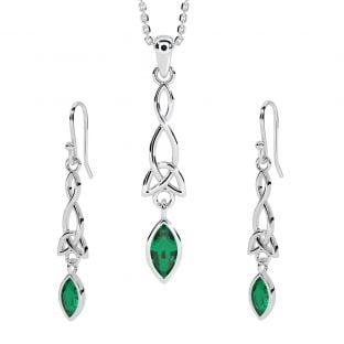 Silver Emerald Celtic Dangle Earrings & Pendant Necklace Set