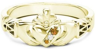10K/14K/18K Gold Genuine Citrine.035cts Genuine Diamond .1cts Claddagh Celtic Knot Ring - November Birthstone