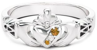 10K/14K/18K White Gold Genuine Citrine.035cts Genuine Diamond .1cts Claddagh Celtic Knot Ring - November Birthstone