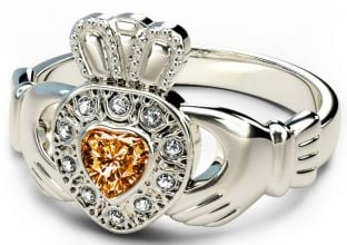 10K/14K/18K White Gold Genuine Diamond .13cts Citrine .25cts Claddagh Engagement Ring - August Birthstone