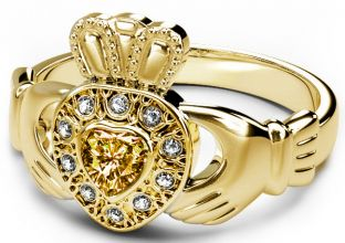 10K/14K/18K Gold Genuine Diamond .13cts Citrine .25cts Claddagh Engagement Ring - August Birthstone