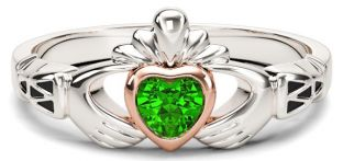 Ladies Emerald Solid Rose Gold & Silver Claddagh Celtic Knot Ring - May Birthstone