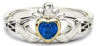 Ladies Sapphire Gold Claddagh Ring