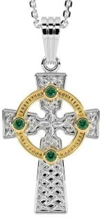 """White & Yellow Gold Genuine Emerald .12cts """"Celtic Cross"""" Pendant Necklace"""