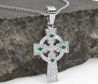 "14K White Gold Solid Silver Emerald Irish ""Celtic Cross"" Pendant Necklace"