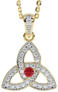 """Yellow & White Gold Genuine Diamond .15cts Genuine Ruby .10cts """"Celtic Knot"""" Pendant Necklace"""