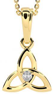 "Gold Genuine Diamond .06cts ""Celtic Knot"" Pendant Necklace - April Birthstone"