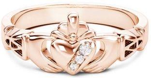 10K/14K/18K Rose Gold Genuine Diamonds .135cts Claddagh Celtic Knot Ring - April Birthstone