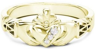 10K/14K/18K Gold Genuine Diamonds .135cts Claddagh Celtic Knot Ring - April Birthstone