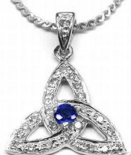 "White Gold Genuine Diamond .15cts Genuine Sapphire .10cts ""Celtic Knot"" Pendant Necklace"