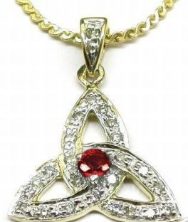 "Yellow & White Gold Genuine Diamond .15cts Genuine Ruby .10cts ""Celtic Knot"" Pendant Necklace"