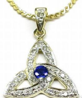 """Yellow & White Gold Genuine Diamond .15cts Genuine Sapphire .10cts """"Celtic Knot"""" Pendant Necklace"""