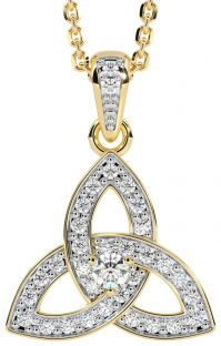"""Yellow & White Gold Genuine Diamond .25cts """"Celtic Knot"""" Pendant Necklace"""