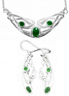 Silver Emerald Celtic Earrings + Pendant Set